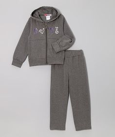 Take a look at this Gray 'Love' Zip-Up Hoodie & Pants - Toddler & Girls by Coney Island Kids on #zulily today!