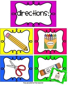 A Cupcake for the Teacher: Classroom Labels Starter Kit! and Picture Directions {Freebie}.now I won't have to try and draw these things any more! Classroom Labels, Classroom Organisation, Teacher Organization, Kindergarten Classroom, Art Classroom, Future Classroom, Classroom Management, Classroom Ideas, Organization Ideas