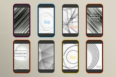 Set of 8 abstract design for phone by Haisonok on Creative Market