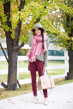 Jewel Tones… (Pink Peonies by Rach Parcell) Fall Outfits For Work, Fall Winter Outfits, Autumn Winter Fashion, Winter Gear, Winter Style, Spring Fashion, Burgundy Skinny Jeans, Burgundy Pants, Look Rose