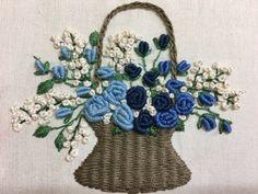 #프랑스자수 #브라질자수 #꽃바구니 #장미꽃 Embroidery Flowers Pattern, Crewel Embroidery, Ribbon Embroidery, Embroidered Flowers, Flower Patterns, Embroidery Designs, Designs For Dresses, Little Stitch, Brazilian Embroidery