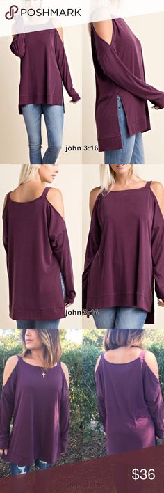Cold shoulder long sleeve tops Plum colored cold shoulder tops also has side slits at the bottom...trendy and chic. 65% rayon 35% polyester - price is firm✔️ Tops