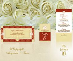 From the 'Lush Red' couture collection. Wedding Invitations, RSVP, Map/Directions, Menus, Table and Favour/Decor Swing Tags.  | © Julinda at Magnolia & Rose Weddings