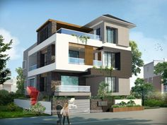 A great ultra modern bungalow design gives a complete new style statement to your dream project. Bungalow style means different things to different people and is therefore not a particularly pre… Bungalow Interiors, Modern Bungalow, Bungalow House Design, Modern House Design, Facade Design, Exterior Design, Villas, Small House Exteriors, Modern House Plans