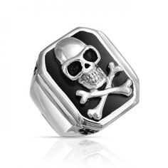 Bling Jewelry Black Onyx Color Mens Skull and Cross Bones Ring Stainless Steel