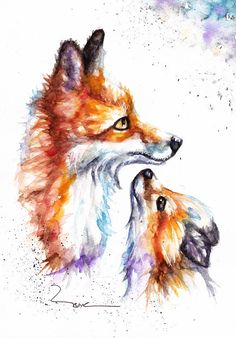 Original Watercolour Fox Family Print or Greeting Card by Watercolor Animals, Watercolor Print, Fox Watercolour, Aquarell Tattoo Fuchs, Animal Paintings, Animal Drawings, Horse Drawings, Zebra Kunst, Fuchs Illustration