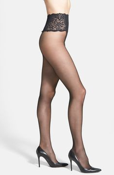 Ultrafine nylons are designed with a smooth lace waistband that's comfortable and sensual looking, while seamless construction means there's no unflattering center seam. Style Name:Commando The Sexy Sheer Pantyhose. Style Number: Available in stores. Pantyhose Fashion, Pantyhose Outfits, Pantyhose Heels, Black Pantyhose, Fashion Tights, Black Tights, Gothic Fashion, Luxury Fashion, Bas Sexy