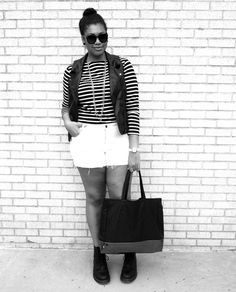 O look de hoje é da blogueira canadense Franceta Johnson e é uma ótima dica para o feriado. Invista em looks confortáveis, com estilo e que valorizem seu tipo físico. Sugerimos uma blusa com listras médias,  shorts com barra desfiada, botas com cadarço e um colete de couro, o qual dará uma pegada mais rocker para o look.
