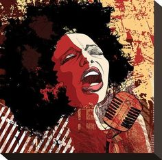 Afro American Jazz Singer Stretched Canvas Print at Art.com