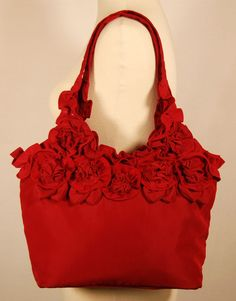 red flower hand bag