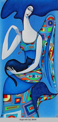 """Wlad Safronow - """"Angel with Cat - Blue"""" ✿≻⊰❤⊱≺✿"""