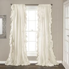 Lush Decor Reyna Window Curtain Panel Pair, x Ivory: Cascading ruffle boarder adds to the elegance and simplicity of this solid window panel. Sold in pairs, pocket slides onto curtain rod for quick and easy installation. Part of Reyna collection. Ruffle Curtains, Rod Pocket Curtains, White Curtains, Window Curtains, Boho Curtains, Curtains Kohls, Curtains Living, Vintage Curtains, Cheap Curtains