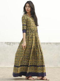 Mustard Yellow Indigo Green Ivory Long Hand Block Cotton Dress With Back Details - D137F994