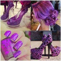 Glaring Sky-high Purple Leopard Platform Stiletto Heels $62.99