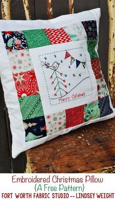 Embroidered Christmas Pillow Tutorial  -- Fort Worth Fabric Studio -- Lindsey Weight