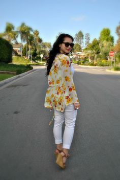 Yellow Floral Kimono, Forever 21 White Pants, Spring Outfit, Wedges