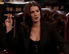 Robin Sherbatsky, my guy friends have nicknamed me Sherbatsky. They say we favor in looks and mannerism. How I Met Your Mother, Robin Scherbatsky, Suits Season 1, Robin Suit, Barney And Robin, Cigar Girl, Guy Friends, Himym, I Meet You