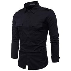 Double Pocket Men Shirt 2017 New Brand Mens Shirts Long Sleeve Shirt Men Military Style Shirts Casual Slim Fit Camisa Masculina