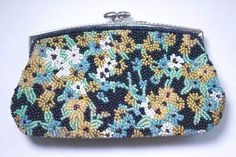 """Vintage BEADED COIN PURSE Snap Clasp Small Clutch FLORAL Brass 5.25"""" x 3.5"""" #Unbranded #Clutch"""