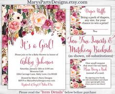 It's a Girl Boho Baby Shower Invitation - Watercolor Flowers Floral Free Diaper Raffle Ticket Book Request Card Personalized Printable by MarysPartyDesigns on Etsy