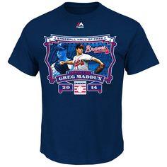Greg Maddux Atlanta Braves 2014 Baseball Hall Of Fame Photo Majestic T-Shirt - Navy Blue - $17.09