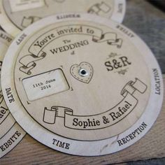 Wooden Wedding Invitation Wedding Wheel is part of Wooden wedding invitations Description Something a little different! This is a diameter wedding wheel invitation which features two separate - Shine Wedding Invitations, Affordable Wedding Invitations, Handmade Wedding Invitations, Wedding Favors For Guests, Diy Invitations, Floral Wedding Invitations, Wedding Invitation Cards, Wedding Stationery, Handmade Invitation Cards