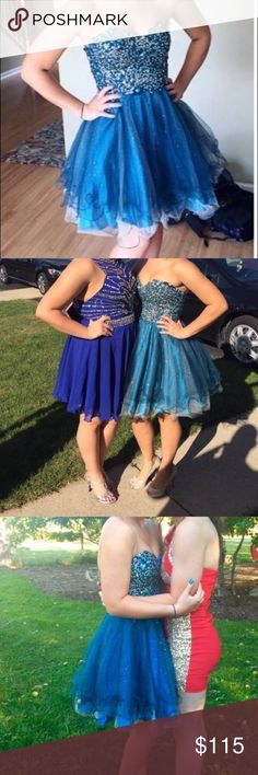 Homecoming dress Emerald green and blue beaded dress, mid thigh length, strapless with corset back, worn twice Dresses Prom