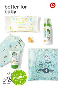 Feel good about the baby products you're using with Made to Matter, handpicked by Target. The Honest Company Overnight Diapers are specially designed for nighttime protection with 20% more absorption, and are made to be super soft and hypoallergenic. And for all those diaper changes, there's Seventh Generation Diaper Cream, made with organic coconut oil. Time for a little clean up? Go for Seventh Generation Foaming Shampoo & Wash or Babyganics Face, Hand & Baby wipes.