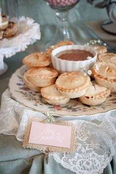 {Fall bday} caramel dip and mini apple pies - I could totally make these using cupcake pans! Just Desserts, Delicious Desserts, Yummy Food, Pie Dessert, Dessert Recipes, Dessert Platter, Dessert Table, Mini Apple Pies, Mini Pies