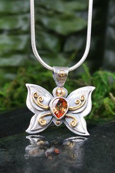 Orange Sapphire Butterfly Pendant