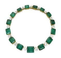 A MAGNIFICENT ANTIQUE EMERALD AND DIAMOND NECKLACE, PROBABLY BOUCHERON. Designed as a graduated line of 15 rectangular-cut emeralds to the cushion-shaped diamond spacers, mounted in 18k gold and platinum, the emeralds mounted circa 1880, the diamonds added circa 1900. Provenance: Countess Henckel von Donnersmarck, known as 'La Païva'; Count Guido Henckel von Donnersmarck; Countess, later Princess, Katharina Henckel von Donnersmarck; thereafter, by direct family descent.
