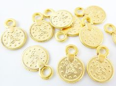 10 Mini Chunky Round Coin Charms  22k Matte Gold by LylaSupplies, $3.90