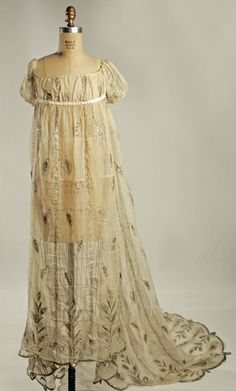 french cotton evening dress with metallic threads - c. 1805