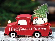 Countdown the days until Christmas day with the Countdown Truck! KP Creek Gifts. #christmascountdown #redtruck #Christmasdecor #giftidea #countrychristmas
