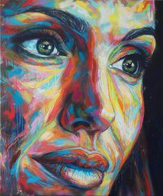 UK artist David Walker: Angelina Jolie | Artwork date: 2013 Description: Spray paint on canvas Dimensions: 100 cm x 120 cm Estimate: £2,000 - £3,000