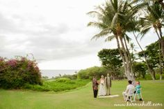 beautiful wedding on the lawn at Gannon's Restaurant in south Maui, wedding created by Simple Maui Wedding