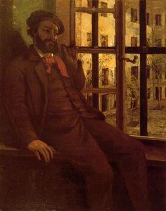 'Selbstporträt in Ste.-Pelagie', öl auf leinwand von Gustave Courbet (1819-1877, France)