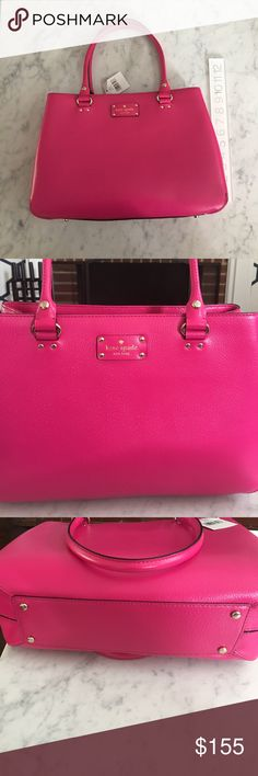 NWT Kate Spade Wellesley Pink Leather Purse Beautiful Kate Spade Pink Leather purse. New with tags. Approx 10 inches high and 13 inches long. Great for summer! kate spade Bags Totes