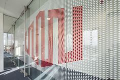 Office Branding window graphics on glass partitions