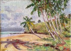 Vosberg Original Collectible ACEO Oil Painting Kihei Beach  Maui Island Hawaii