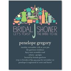 Umbrella Collage - Studio Basics: Bridal Shower Invitations - Wedding Paper Divas Studio Basics - Slate - Gray : Front