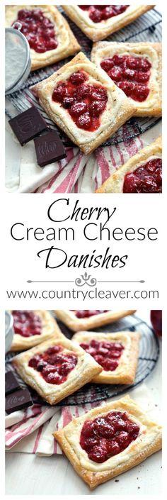 Cherry Cream Cheese Danishes - www.countrycleaver.com