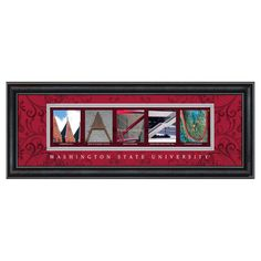 Framed Letter Wall Art - Washington State University Pullman - 20W x 8H in. - CLAL3B18WGST