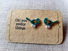Green bird stud earring posts by Ohyouprettythings77 on Etsy