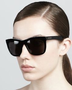 Crystal-Trim Square Sunglasses, Black by Givenchy $395