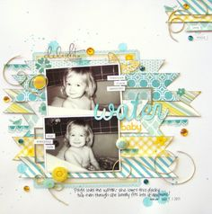 Water Baby...paper strips and 2 horizontal pictures