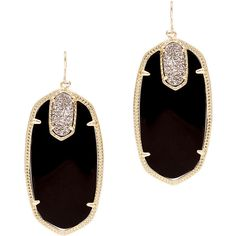 Rental Kendra Scott Darcy Earrings (26 CAD) ❤ liked on Polyvore featuring jewelry, earrings, black, 14 karat gold earrings, statement earrings, drusy earrings, black druzy earrings and drusy jewelry