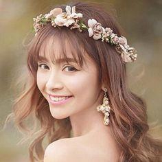 Women Flower Crown Garland Flower Garland Headbands Flower Accessories For Weddings Wreath Headpiece Boho Floral Crown HG0173 #Affiliate