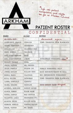 Arkham Asylum Roster  Print/Poster by CharacterCloset on Etsy