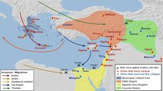 "mapsontheweb: "" The Bronze Age Collapse was a violent and disruptive period that took place in the 12th century BC, in which several waves of migratory Indo-European tribes arrived from the northwest and laid waste to most Mycenaean, Hittite and..."